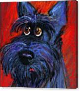 whimsical Schnauzer dog painting Canvas Print