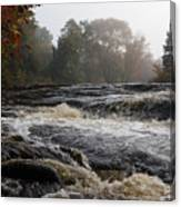 Whiskey River - Foggy Fall Waterscape Canvas Print