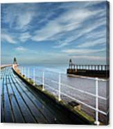 Whitby Piers Canvas Print
