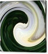 White And Green Swirls Canvas Print
