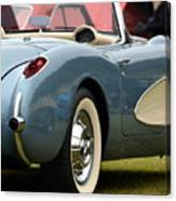 White And Light Blue Corvette Canvas Print
