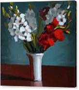 White And Red Gladioli Canvas Print