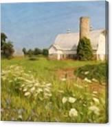 White Barn In Michigan Canvas Print