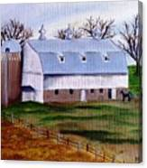 White Barn On A Cloudy Day Canvas Print