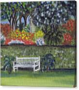 White Bench In Colorful Garden Canvas Print