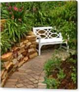 White Bench In The Garden Canvas Print