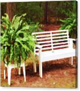 White Bench Sitting In A Beautiful Garden 2 Canvas Print