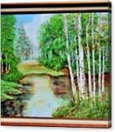 White Birch On The Lake Canvas Print