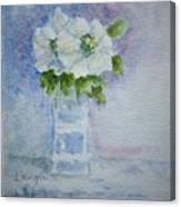 White Blooms In Blue Vase Canvas Print