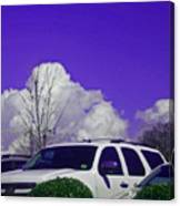 White Car And Clouds Canvas Print