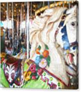 White Carousel Horse Dressed Up Canvas Print