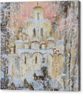 White Cathedral Under Snow Canvas Print