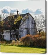 White Country Barn Canvas Print