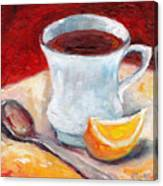 White Cup With Lemon Wedge And Spoon Grace Venditti Montreal Art Canvas Print