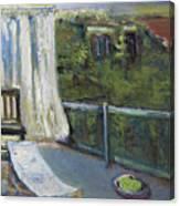 White Curtain View Canvas Print