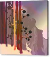 White Deer Climbing Mountains - Abstract And Colorful Forest Canvas Print