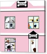 White Dog House Canvas Print