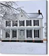 White Farm House During Winter Canvas Print