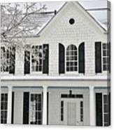 White Farm House In Winter Canvas Print