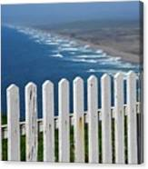 White Fence And Waves Canvas Print