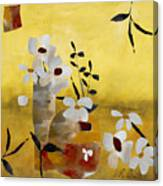White Floral Collage II Canvas Print
