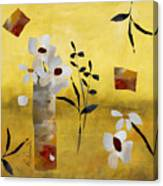 White Floral Collage Canvas Print