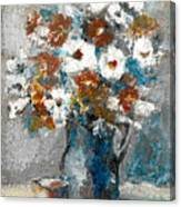 White Flower In Vase And Mug Canvas Print