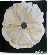 White Flower On Black Canvas Print