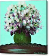 White Flowers In A Vase Canvas Print
