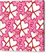 White Hearts - Valentines Pattern Canvas Print