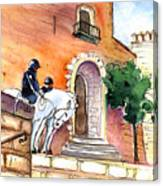 White Horses By The Cathedral In Palma De Mallorca 02 Canvas Print