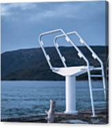 White Ladder Of A Diving Board At The Beach In Cres Canvas Print