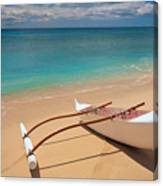 White Outrigger Canoe Canvas Print