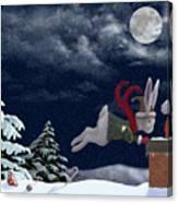 White Rabbit Christmas Canvas Print