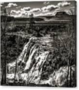White River Falls Black  And White Canvas Print