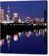 White River Reflects Indy Skyline Canvas Print