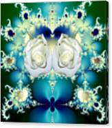 White Roses  And Blue Satin Bouquet Fractal Abstract Canvas Print