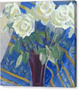 White Roses With Red And Blue Canvas Print