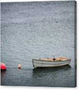 White Rowboat And Seagull Canvas Print