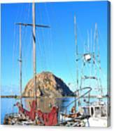 White Sail Boat Morro Rock  Canvas Print