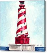 White Shoal Lighthouse Michigan Nautical Light House Red And White Candycane Stripes Canvas Print