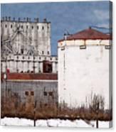 White Silo And Grain Elevator Canvas Print