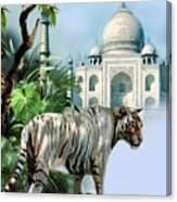 White Tiger And The Taj Mahal Image Of Beauty Canvas Print