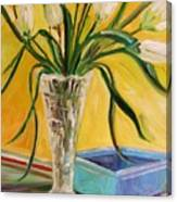 White Tulips In Cut Glass Canvas Print