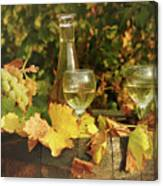 White Wine And Grape In Vineyard Canvas Print