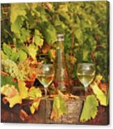 White Wine And Vineyard Autumn Season Canvas Print