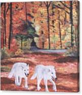 White Wolves Passing Through Canvas Print