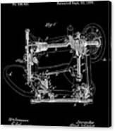 Whitehill Sewing Machine Patent 1885 Black Canvas Print