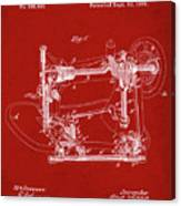 Whitehill Sewing Machine Patent 1885 Red Canvas Print
