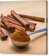 Whole Cinnamon Sticks With A Heaping Teaspoon Of Powder Canvas Print
